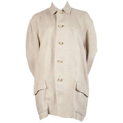 1980's ISSEY MIYAKE PLANTATION linen jacket with knotted fabric buttons