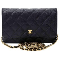 Chanel Black Quilted Caviar Leather Wallet On Long Shoulder Chain