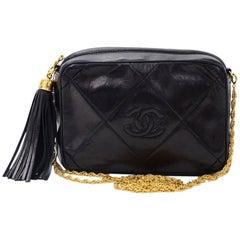 """Vintage Chanel 7"""" Black Quilted Leather Fringe Shoulder Pochette Bag"""