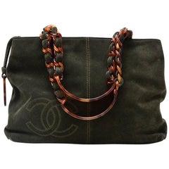 Chanel Dark Green Suede Leather Plastic Handles Hand Bag