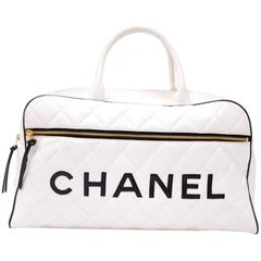 Vintage Chanel White x Black Quilted Leather Large Boston Hand Bag