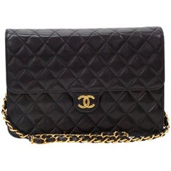 "Vintage Chanel 10"" Classic Black Quilted Leather Shoulder Flap Bag Ex"
