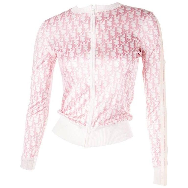 Christian Dior Pink Monogram Zip Up Top 1
