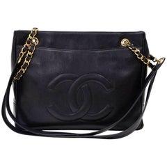 """Vintage Chanel 12"""" Black Caviar Leather Large Shoulder Tote Bag"""