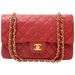 "Vintage Chanel 2.55 10"" Double Flap Red Quilted Leather Shoulder Bag"