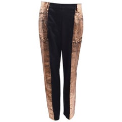 Maison Martin Margiela Black Wool Trousers with Metallic Bronze 'Paint'