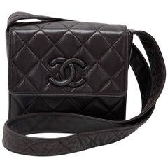 Vintage Chanel Black Quilted Leather Shoulder Pochette Bag