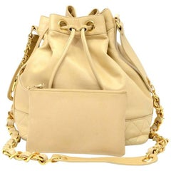 Vintage Chanel Bucket Beige Leather Medium Shoulder Bag
