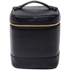 Vintage Chanel Vanity Black Leather Cosmetic Hand Bag