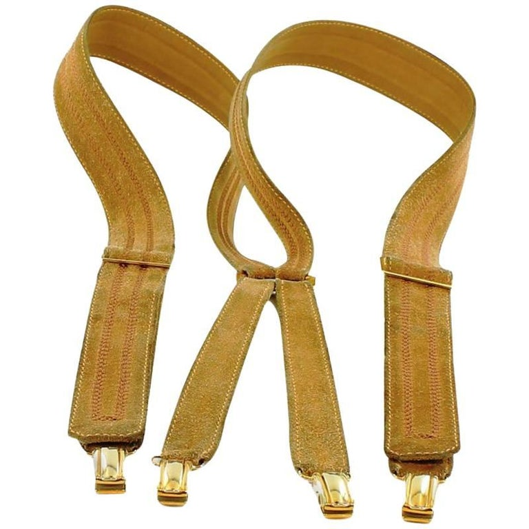 HERMES Braces in Beige Suede