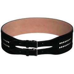 AZZEDINE ALAÏA Belt in Black Velvet Calfskin Size 80FR
