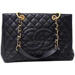 Chanel GST Black Quilted Caviar Leather Large Grand Shopping Tote Bag