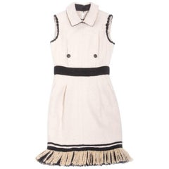 CHANEL Winter Sleeveless Dress in Off-White Cashmere and Silk Size 36FR