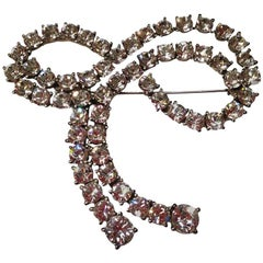 SONIA RYKIEL Knot Brooch in Silver Plated Metal Set with Rhinestones