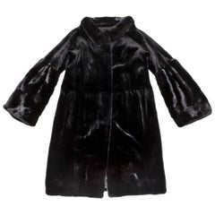 CHRISTIAN DIOR Coat in Black Long Shaved Mink Size 36FR