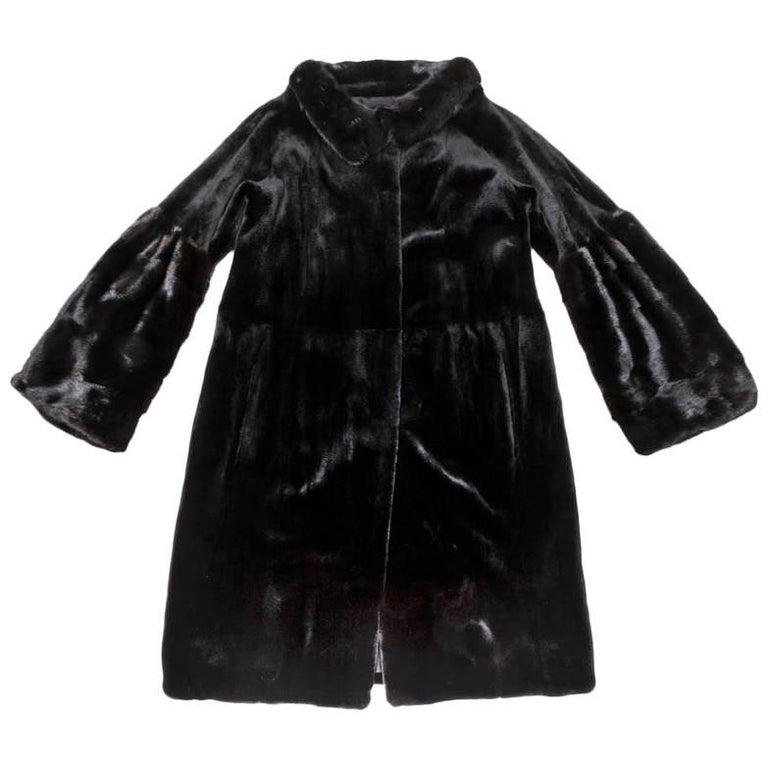 CHRISTIAN DIOR Coat in Black Long Shaved Mink Size 36FR