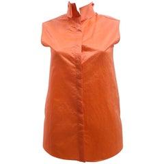 Balenciaga Orange Sleeveless Vest Shirt with Collar Details