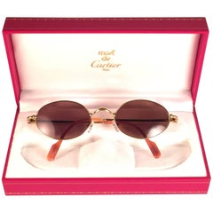New Vintage Cartier Saturne Gold Plated Solid Brown Lens France 1990 Sunglasse