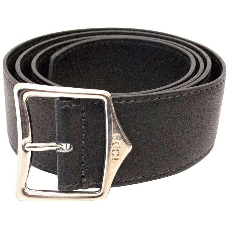 Tod's Black Leather Belt For Sale