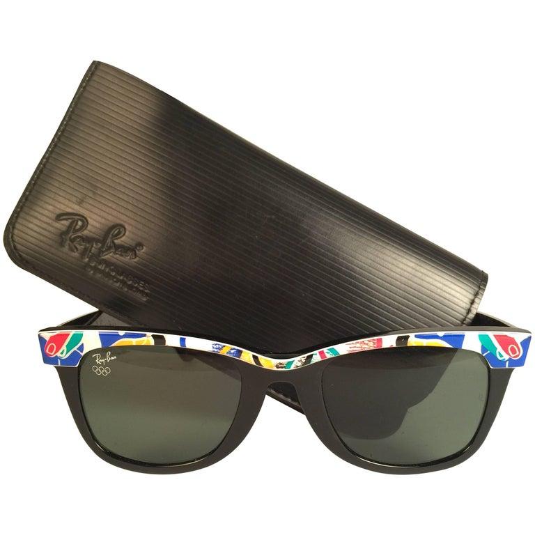 202b06ebad Vintage Ray Ban The Wayfarer Olympics Barcelona 1992 B L USA 80 s  Sunglasses ...