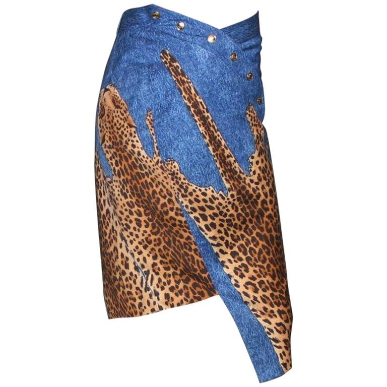 Christian Dior by John Galliano Denim Leopard Cheetah Asymmetric Skirt 2000