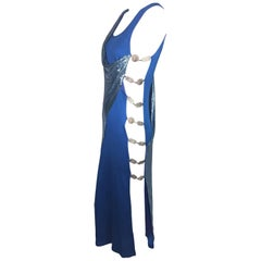 F/W 1994 Gianni Versace Couture Cobalt Blue Cut-Out Sides Chainmail Gown Dress