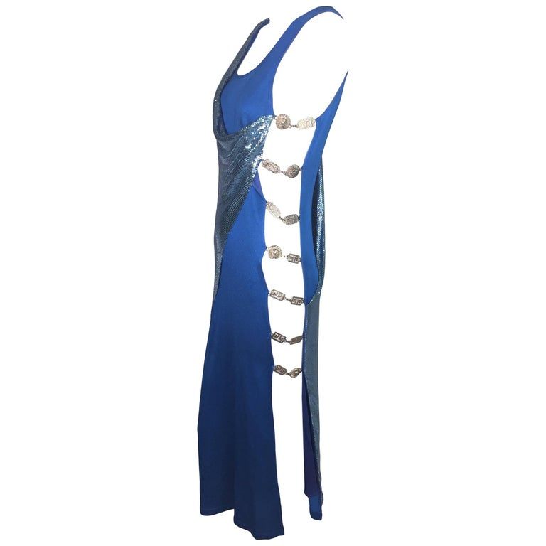 F/W 1994 Gianni Versace Couture Cobalt Blue Cut-Out Sides Chainmail ...