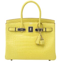Never Used Hermes Birkin Lime Matt Alligator 30
