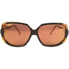 New Vintage Ted Lapidus Paris TLC 807 Copper & Black 1970 Sunglasses Fran