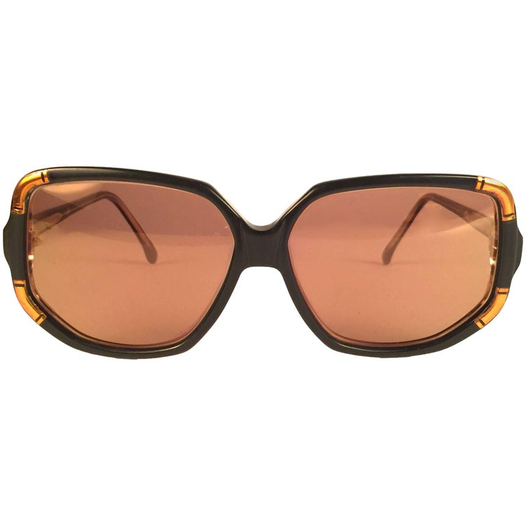 New Vintage Ted Lapidus Paris TLC 807 Copper & Black 1970 Sunglasses Fran