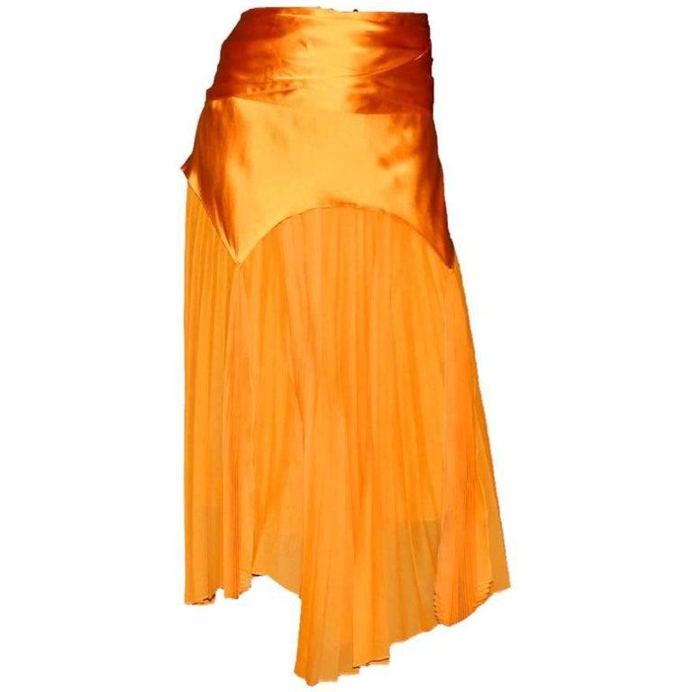 Yves Saint Laurent by Tom Ford Spring 2004 Tangerine Pleated Skirt & Belt /Scarf