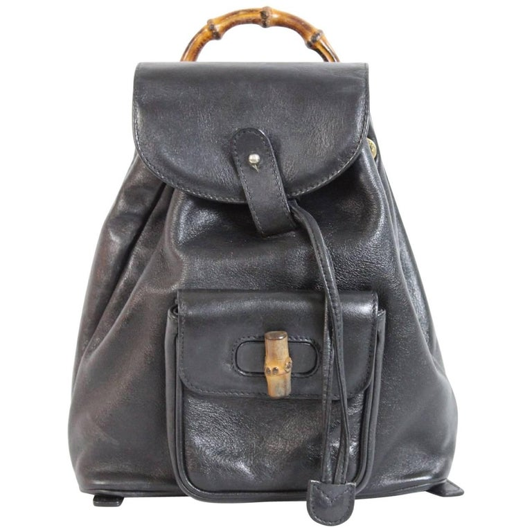 Gucci bamboo vintage black leather backpack bag serial code with pocket