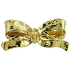Yves Saint Laurent YSL Vintage Gold Tone Bow Brooch