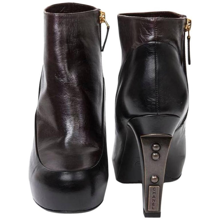 1a8c6b6eb779 CHANEL Boots in Black and Brown Smooth Leather Size 38.5FR For Sale ...