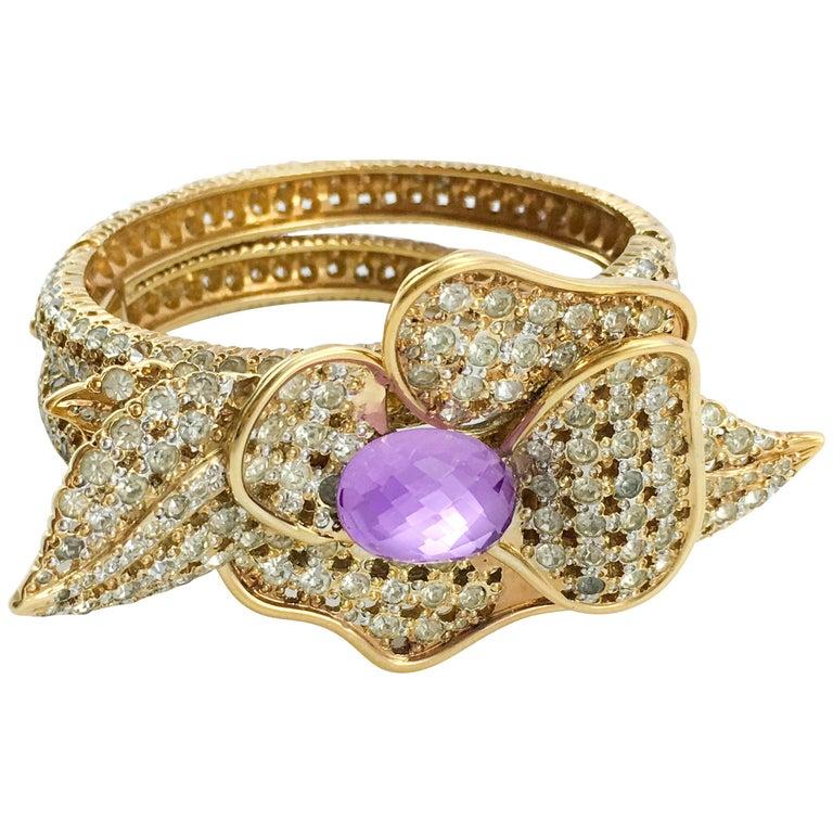 1990s Valentino Diamanté and Faux Amethyst Gilt Flower Bracelet For Sale