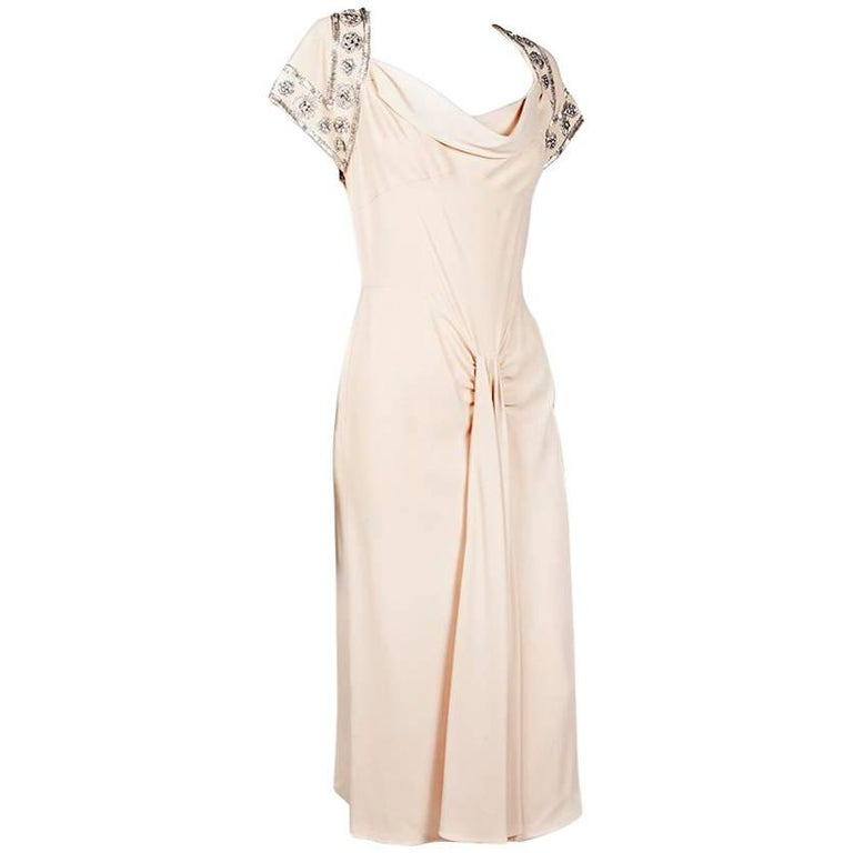 CHRISTIAN DIOR Cocktail Dress in Beige Silk Crepe Size 36FR