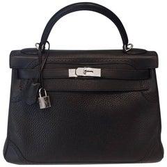 Hermes Kelly Ghillies Bag Black Togo Swift PHW 32 cm 2 straps Full set
