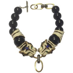 LANVIN Panther's Head Necklace in Black and Ivory Resin