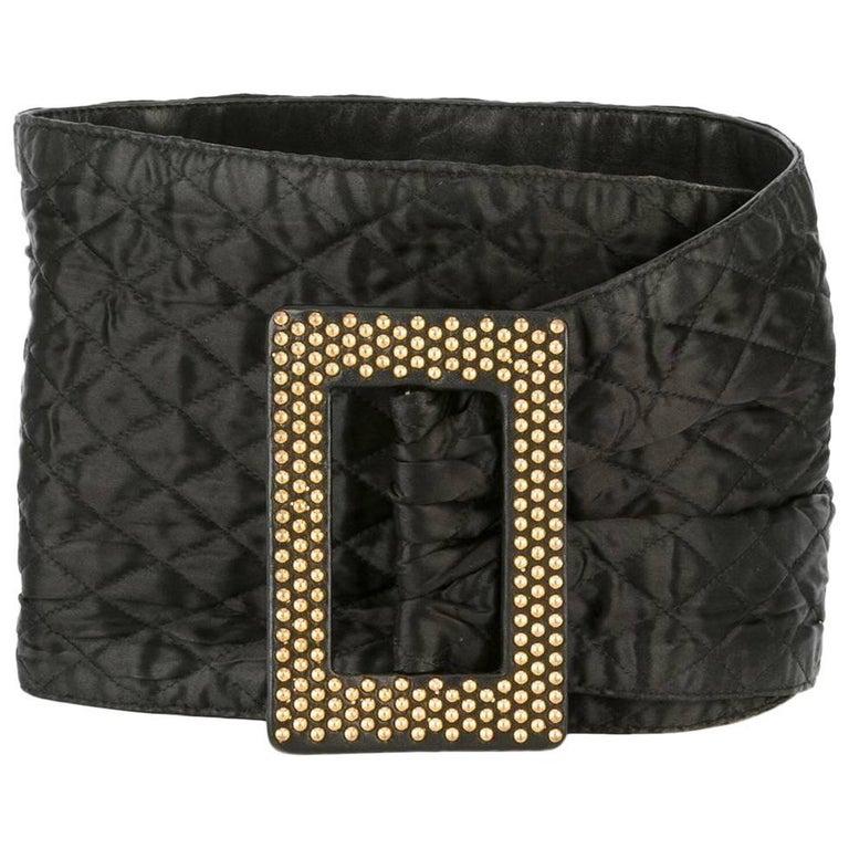 Yves Saint Laurent Gold-Studded Black Leather Belt
