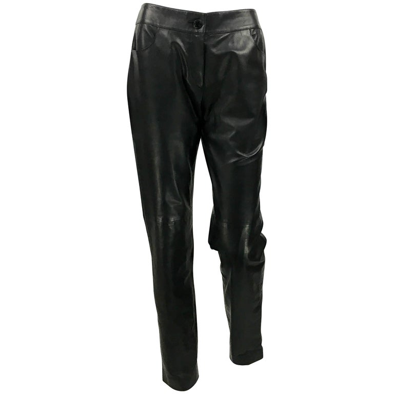 2003 Chanel Black Calfskin Leather Pants For Sale