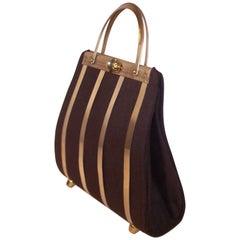 Unique 1950's Stylecraft of Miami Caged Brown Wool Handbag