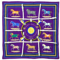 1970s Hermes 'Couvertures et tenues de Jour' Equestrian Themed Purple Silk Scarf