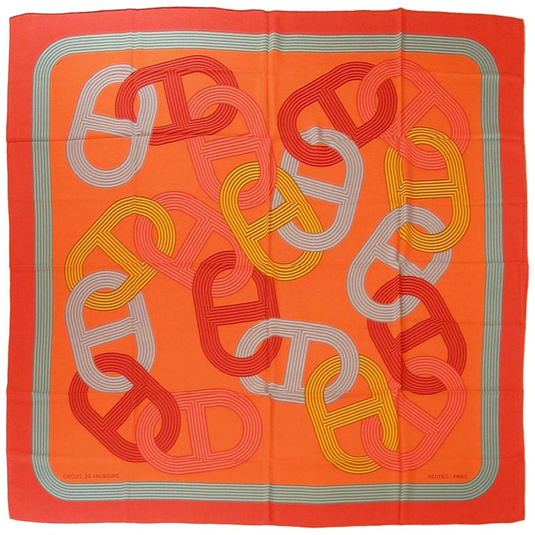 HERMES Made In France GM 140 / 55 Circuit 24 Faubourg Cashmere Shawl / Brand New