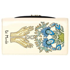 Christian Dior 2017 Nude Embroided Le Monde Tarot Pouch Clutch with DB