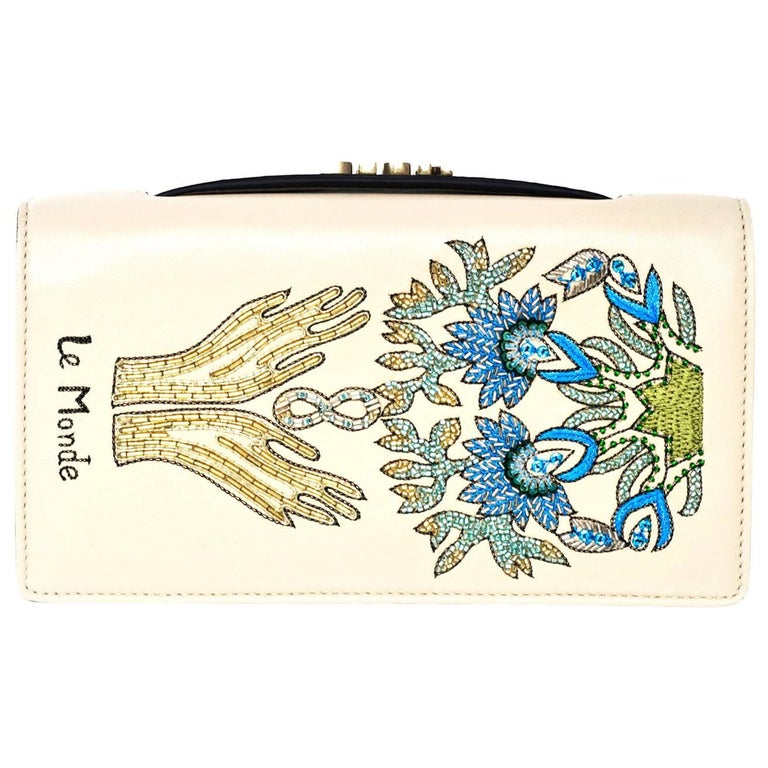 Christian Dior 2017 Nude Embroided Le Monde Tarot Pouch Clutch with DB 1