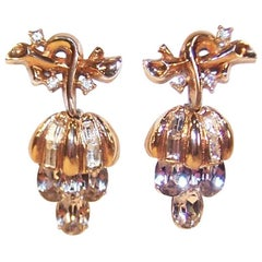 Pretty & Petite C.1950 Crown Trifari Articulated Rhinestone Earrings