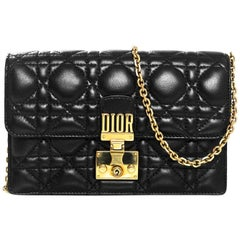 Christian Dior 2017 Black Leather Dioraddict Wallet On Chain Crossbody