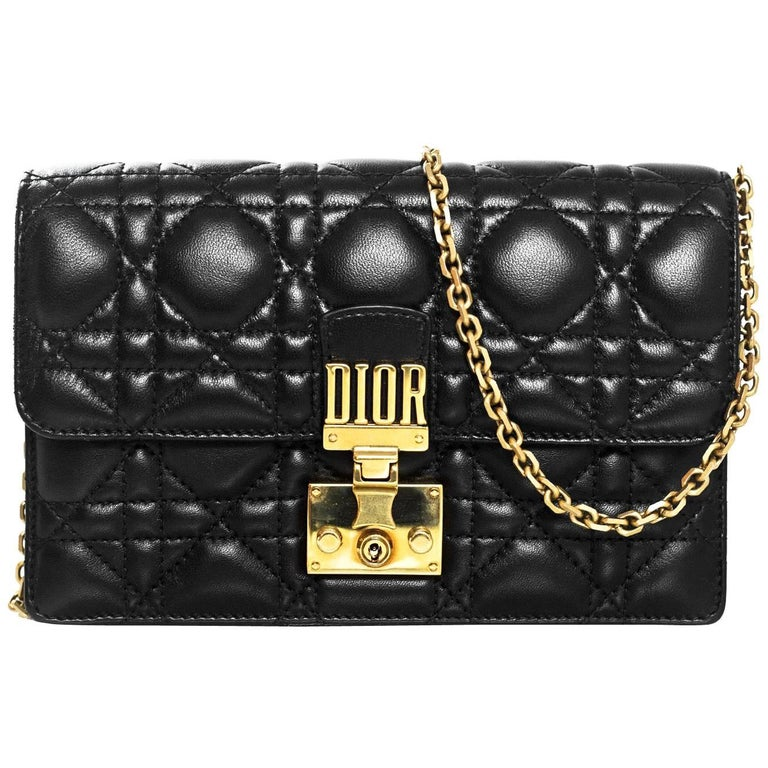 Christian Dior 2017 Black Leather Dioraddict Wallet On Chain Crossbody For Sale