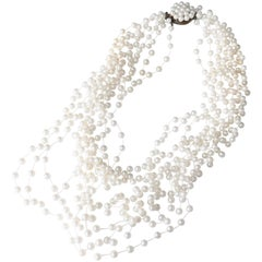 1970s Langani Multi Strand Pearl Necklace