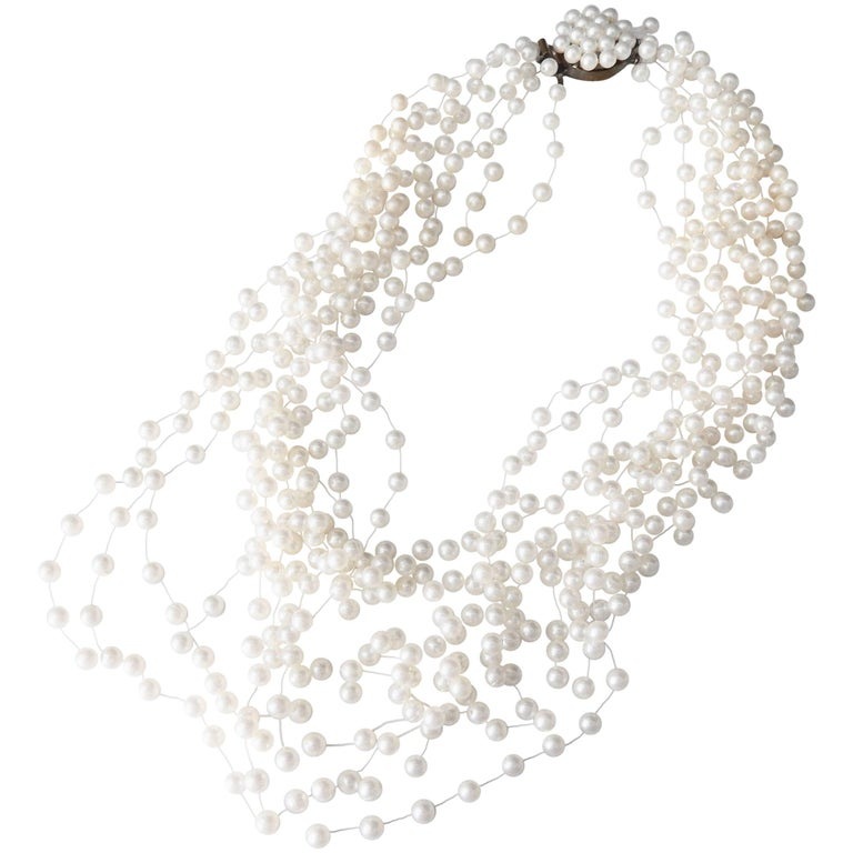 1970s Langani Multi Strand Pearl Necklace 1